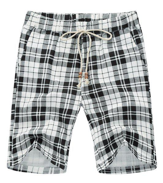 Plaid Loose Lace Up Fifth Pants Beach Shorts For Men - WHITE/BLACK L