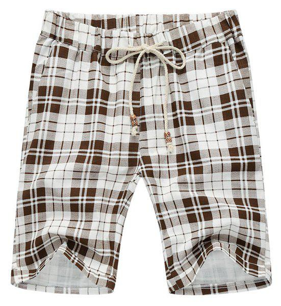 Plaid Loose Lace Up Fifth Pants Beach Shorts For Men - WHITE/BROWN L