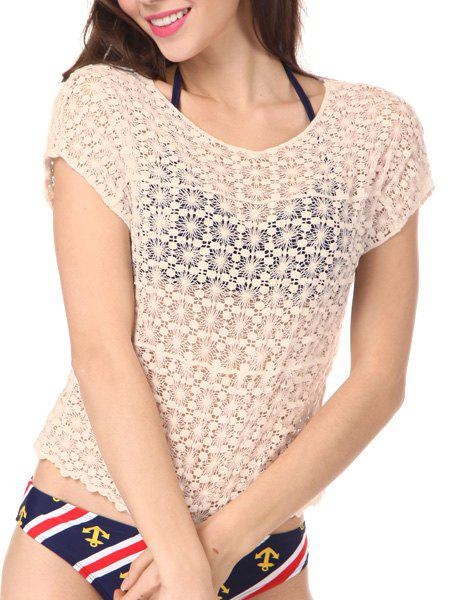 Stylish Scoop Neck Short Sleeve Hollow Out Women's Cover-Up - NUDE ONE SIZE(FIT SIZE XS TO M)