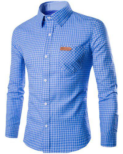 PU Leather Spliced One Pocket Hit Color Shirt Collar Long Sleeves Men's Checked Shirt от Dresslily.com INT