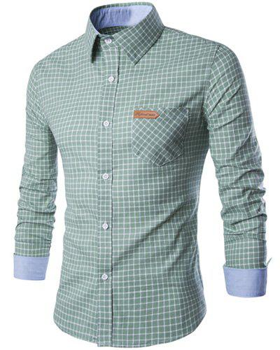 PU Leather Spliced One Pocket Hit Color Shirt Collar Long Sleeves Men's Checked Shirt - GREEN M