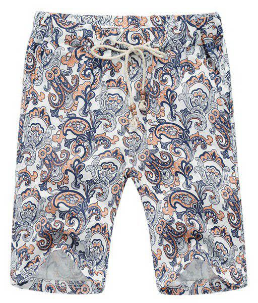 Loose Lace Up Printed Fifth Pants Beach Shorts For Men - COLORMIX L