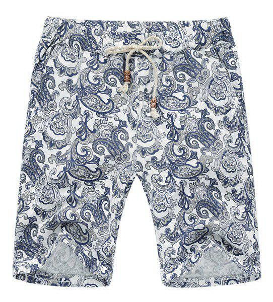 Lace Up Loose Printed Fifth Pants Beach Shorts For Men - COLORMIX 2XL