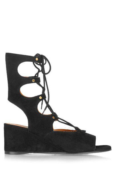 Trendy Peep Toe and Lace-Up Design Sandals For Women - BLACK 39