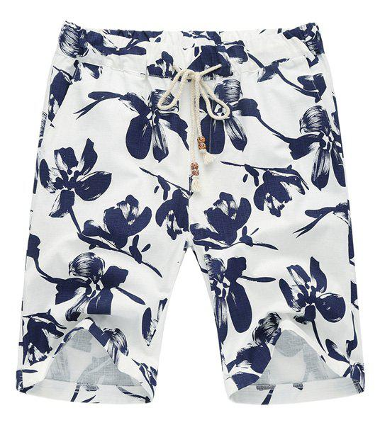 Lace Up Loose Flower Printed Fifth Pants Beach Shorts For Men - BLUE 5XL