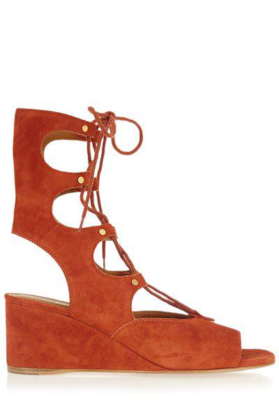 Trendy Peep Toe and Lace-Up Design Sandals For Women - CAMEL 35