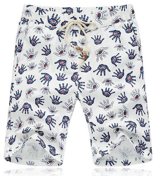 Lace Up Loose Handprint Printed Fifth Pants Beach Shorts For Men