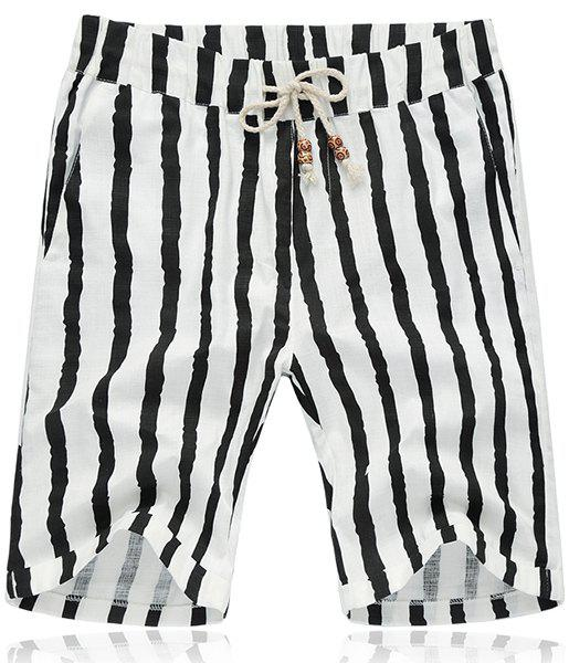 Lace Up Loose Stripe Fifth Pants Beach Shorts For Men - STRIPE 2XL