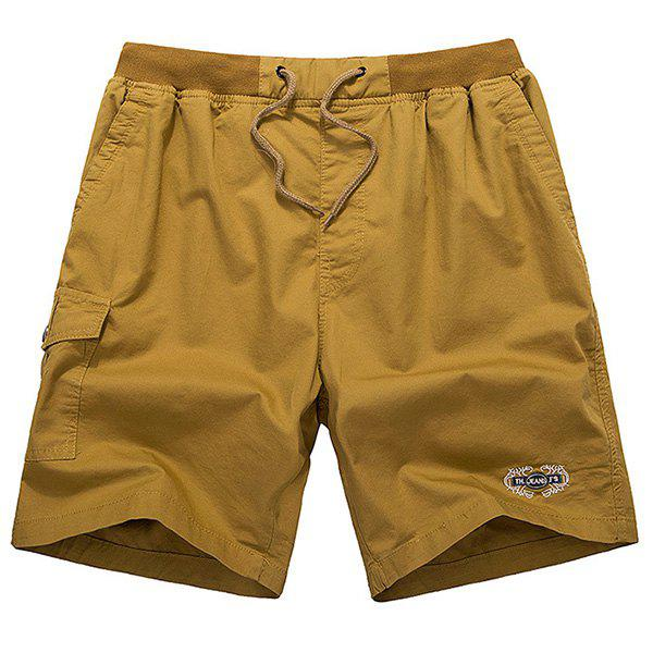 Loose-Fitting Lace-Up Embroidered Design Straight Leg Shorts For Men - KHAKI XL