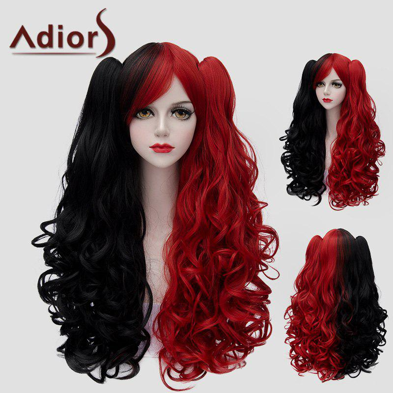 Fluffy Wavy Trendy Long With Bunches Lolita Black Red Splicing Women's Synthetic Wig - RED/BLACK