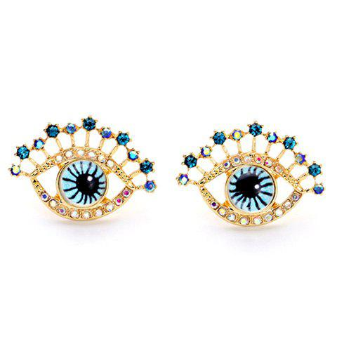Rhinestone Embellished Eye Shape Earrings - GOLDEN