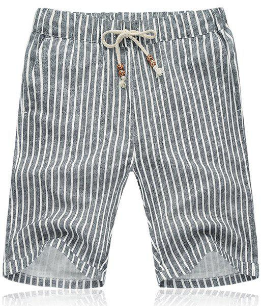 Lace Up Loose Vertical Stripe Fifth Pants Beach Shorts For Men - STRIPE XL