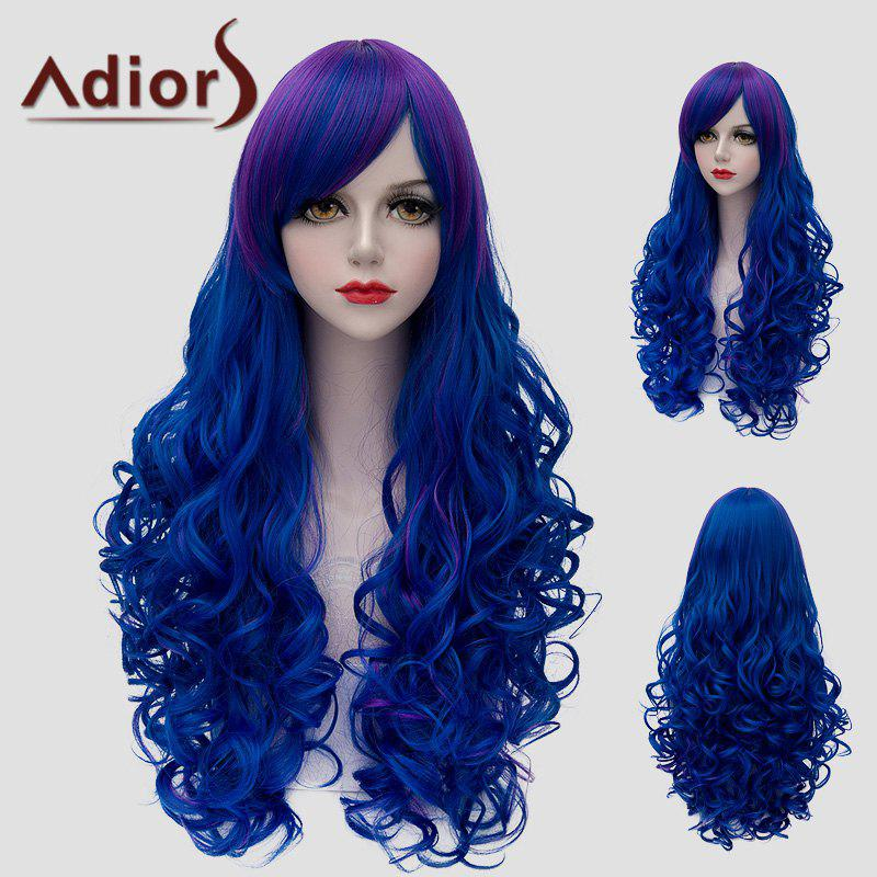 Fluffy Wave Lolita Purple Ombre Blue Vogue Side Bang Long Synthetic Wig For Women - BLUE / PURPLE