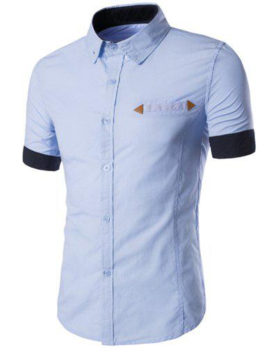 PU Leather Embellished Slimming Shirt Collar Short Sleeves Color Block Shirt For Men