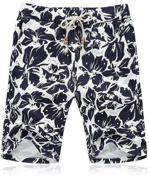 Lace Up Loose Flower Printing Fifth Pants Beach Shorts For Men - BLACK L