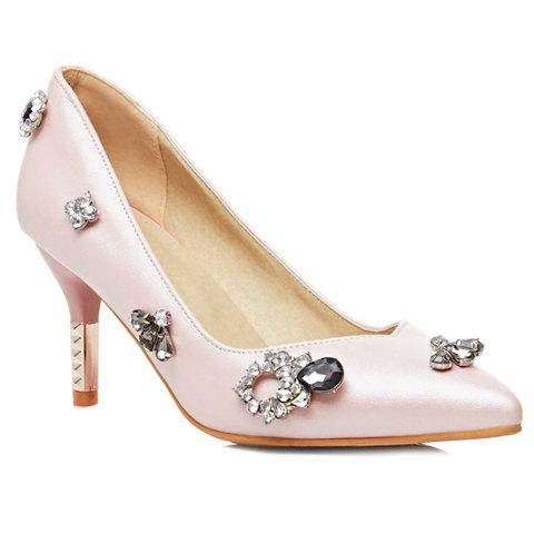 Pretty PU Leather and Rhinestones Design Pumps For Women - PINK 39