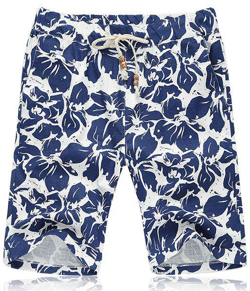 Lace Up Flower Printing Loose Fifth Pants Beach Shorts For Men - BLUE 2XL