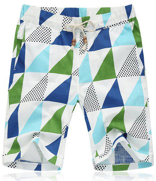 Lace Up Triangle Printing Loose Fifth Pants Beach Shorts For Men - COLORMIX L