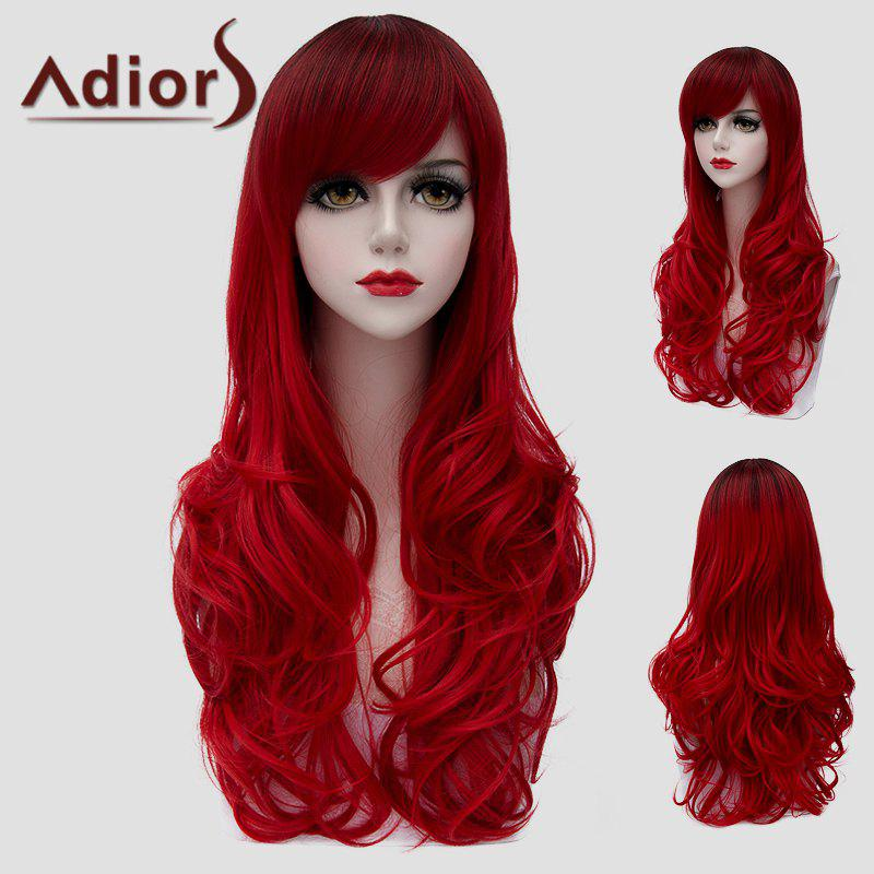 Shaggy Wave Universal Fashion Red Long Side Bang Synthetic Wig For Women
