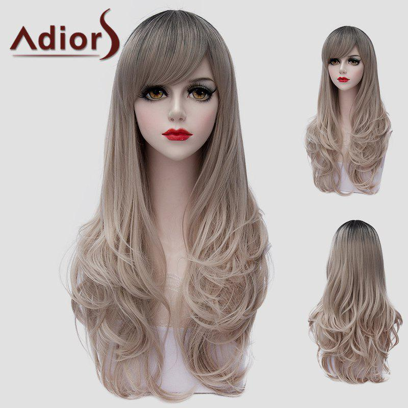 Shaggy Wave Black Ombre Ash Blonde Stylish Long Side Bang Synthetic Universal Wig For Women - COLORMIX