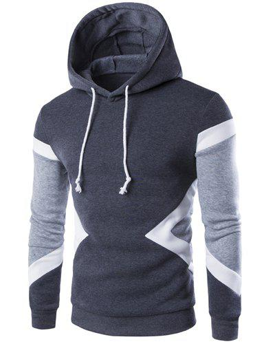 Vogue Hooded Color Lump Splicing Long Sleeves Men's Pullover Hoodie - DEEP GRAY L