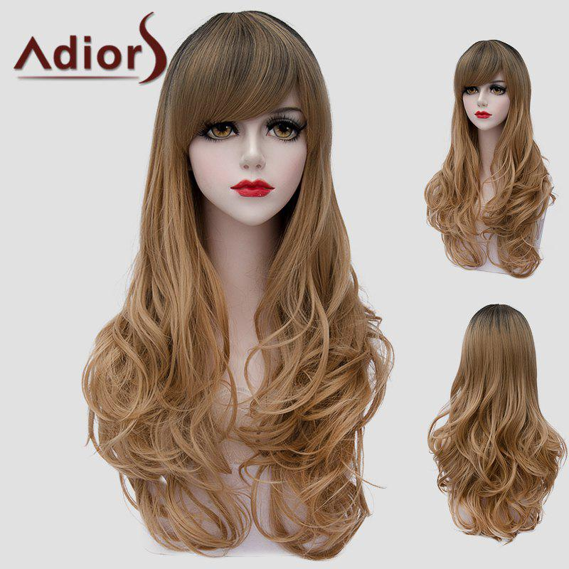 Nobby Long Side Bang Towheaded Wavy Black Ombre Flax Universal Wig For Women - BLACK/BROWN