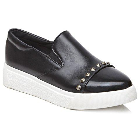 Fashion Pointed Toe and Rivets Design Flat Shoes For Women - BLACK 34