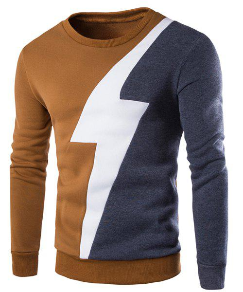 Color Lump Spliced Lightning Pattern Round Neck Long Sleeves Men's Sweatshirt
