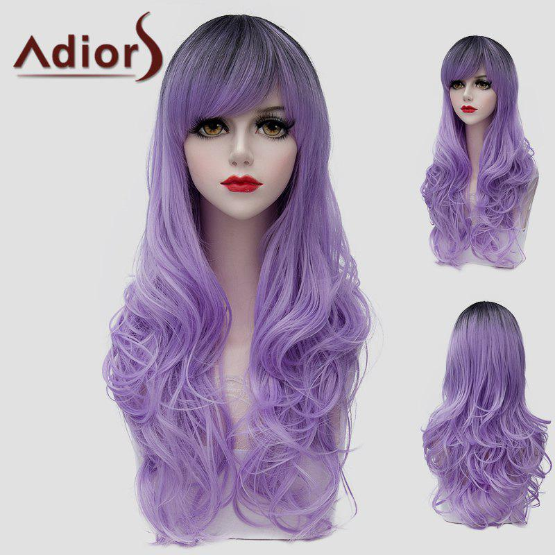 Fluffy Wave Black Ombre Light Purple Outstanding Long Synthetic Universal Wig For Women