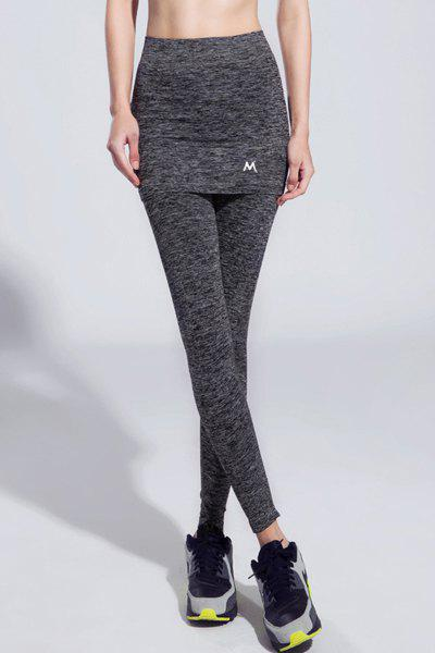 Active Elastic Waist Slimming Faux Twinset Women's Ninth Gym Pants - GRAY M