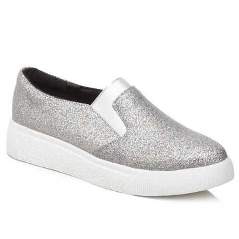 Casual Sequined Cloth and Solid Color Design Flat Shoes For Women - SILVER 39