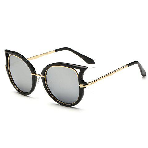 Chic Hollow Out Cat Eye Shape Black Frame Women's Sunglasses - SILVER
