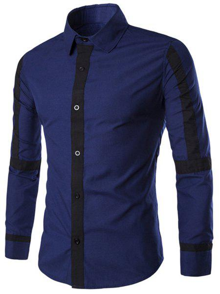 Slimming Shirt Collar Color Block Button Fly Stripes Spliced Men's Long Sleeves Shirt - DEEP BLUE XL