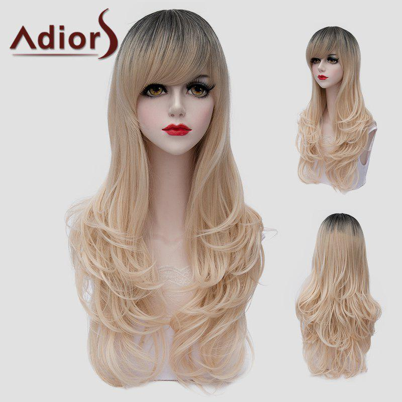Fluffy Long Wavy Universal Stunning Black Ombre Light Blonde Synthetic Wig For Women - BLACK/GOLDEN