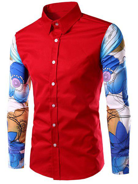 Slimming Colorful Long Sleeves Spliced Turn-down Collar Printed Shirt For Men - RED XL