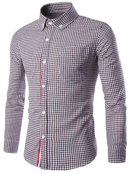 Slimming Braid Spliced One Pocket Shirt Collar Long Sleeves Men's Plaid Shirt - COFFEE M