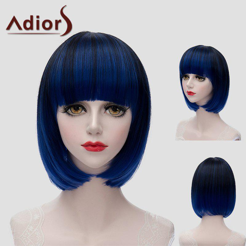 Trendy Short Full Bang Synthetic Bob Style Straight Black Blue Mixed Women's Wig tsnomore black to blue synthetic lace front bob wig