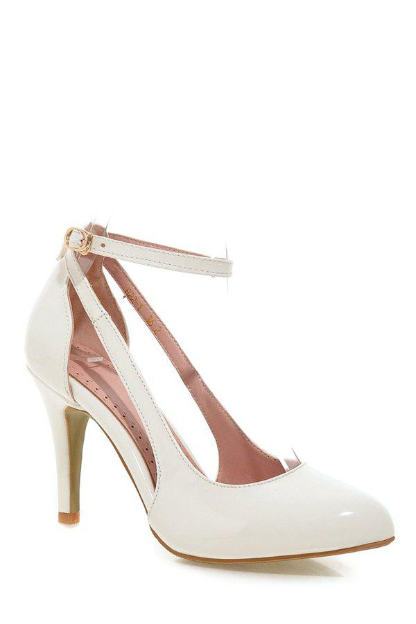 Elegant Ankle Strap and Patent Leather Design Pumps For Women - WHITE 37