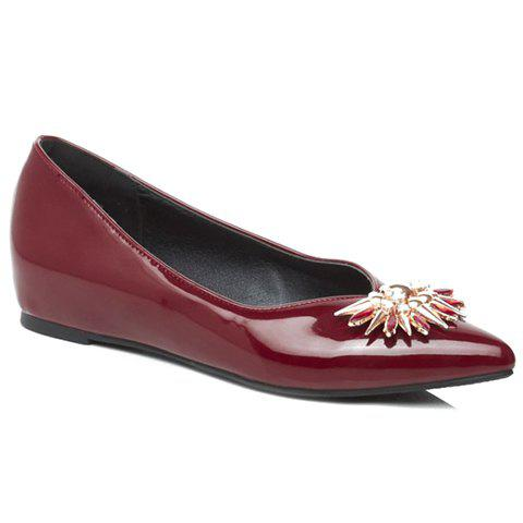 Elegant Rhinestone and Patent Leather Design Flat Shoes For Women - RED 39