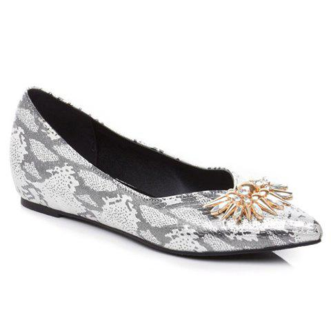 Elegant Rhinestone and Pointed Toe Design Flat Shoes For Women - GREY/WHITE 37