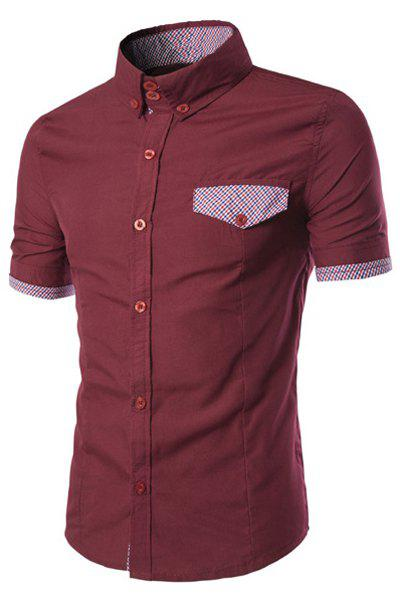 Fake Flap Pocket Plaid Spliced Slimming Shirt Collar Short Sleeves Men's Button-Down Shirt - WINE RED M
