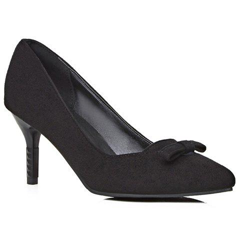 Simple Bowknot and Suede Design Pumps For Women - BLACK 37