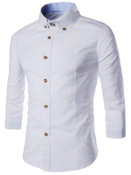 Laconic Slimming Shirt Collar Color Block Half Sleeves Button-Down Shirt For Men - WHITE M