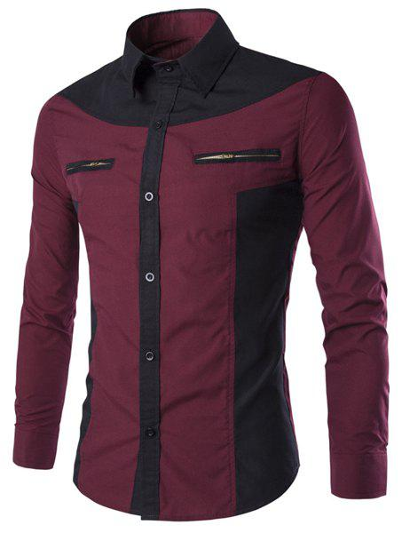 Double Zipper Color Splicing Slimming Shirt Collar Long Sleeves Men's Fashion Shirt - WINE RED 2XL