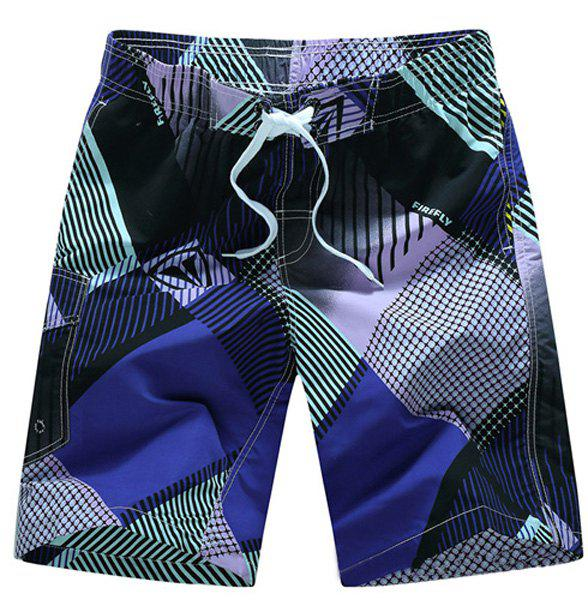 Straight Leg Geometric Print Flap Patch Pokect Drawstring Men's Board Shorts - PURPLE M