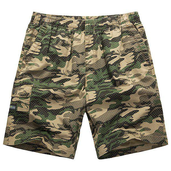 Lace-Up Camouflage Pocket Conception droites Shorts jambe hommes ample - Jaune XL