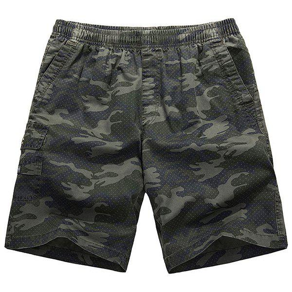 Loose-Fitting Lace-Up Camouflage Pocket Design Straight Leg Men's Shorts - ARMY GREEN XL
