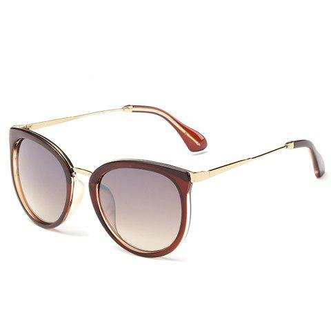 Chic Tea-Colored Frame Metal Splicing Women's Sunglasses - TEA COLORED