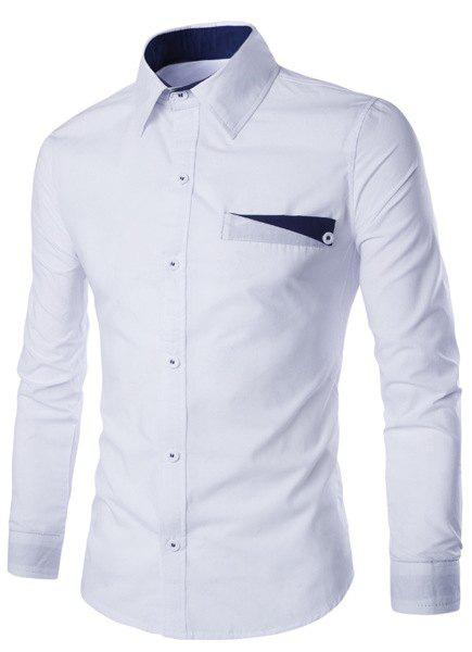 Special One Pocket Color Splicing Shirt Collar Long Sleeves Men's Slimming Shirt - WHITE L