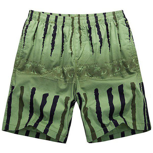 Loose-Fitting Lace-Up Ombre Letter Print Crack Design Straight Leg Men's Shorts - GREEN 3XL